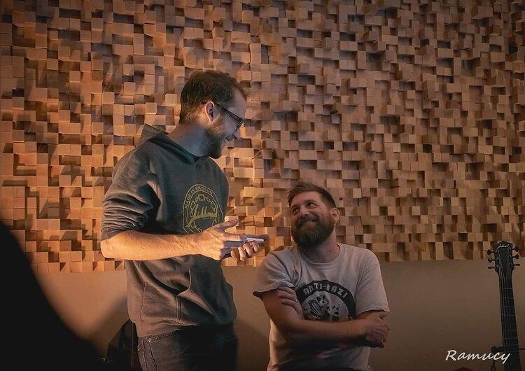 Host Jay Jillard and John K. Samson at Jillard Guitars