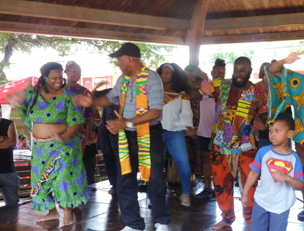 Houston mayor Sylvester Turner learns African dance at S.H.A.P.E.'s annual Pan-African Cultural Festival. PHOTO ASWAD WALKER