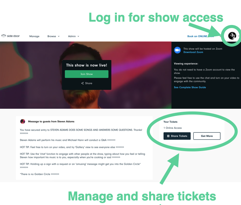 """This is what you'll see when you're logged in and purchase a ticket to a show. You can still purchase a ticket for a friend and send it using the """"share tickets"""" button."""