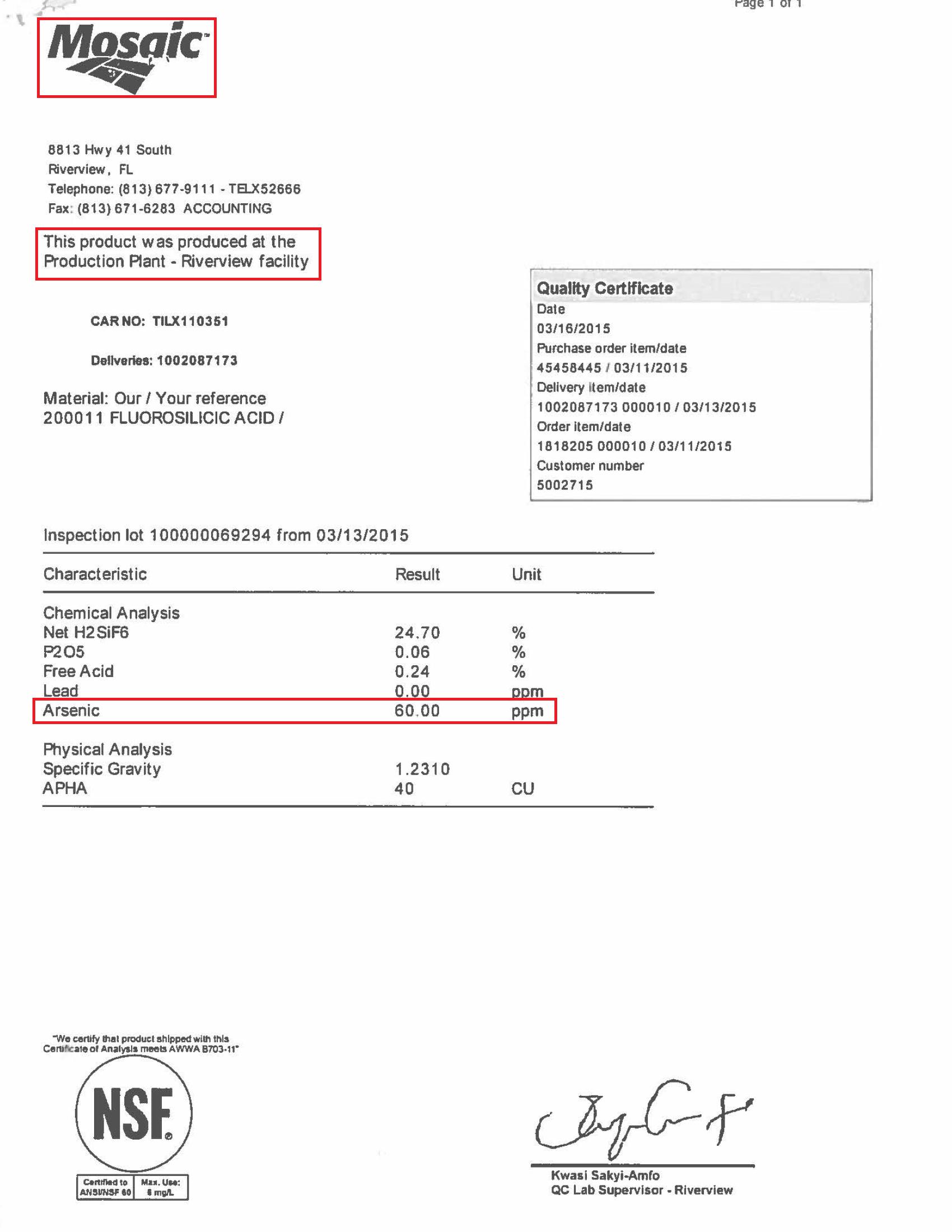Hydrofluosilicic Acid (fluoride) purchases