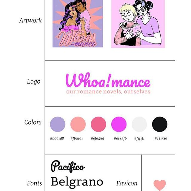 This one took me way outside my color comfort zone! But what other colors could a website for a romance novel podcast use?!🌷🎀💜👄