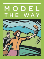 1) Model The Way - Leaders establish principles concerning the way people (constituents, peers, colleagues, and customers alike should be treated and the way goals should be pursued. They create standards of excellence and then set an example for others to follow. Because the prospect of complex change can overwhelm people and stifle action, they set interim goals so that people can achieve small wins as they work toward larger objectives. They unravel bureaucracy when it impedes action; they put up signposts when people are unsure of where to go or how to get there; and they create opportunities for victory.