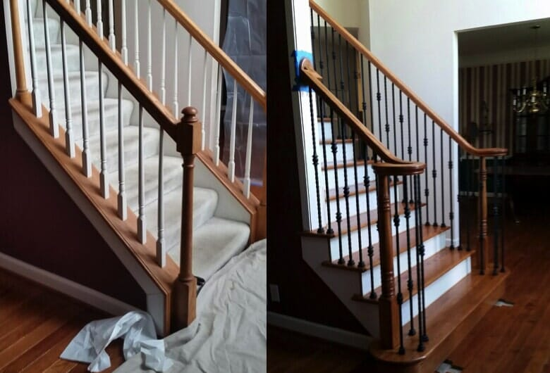 Before & After // R&S Flooring Custom Wood Stair Installation