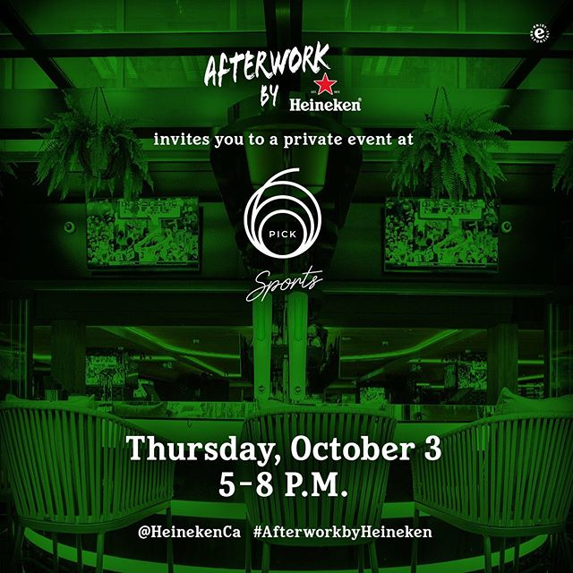 On October 3, we show you how Happy Hour is done with Heineken Afterwork.  We're hosting an exclusive event for you, your coworkers, and friends to raise a pint. 🍻 It's guest list only, so hit the link in bio to RSVP. #Pick6ixSports #AfterworkbyHeineken⁠⠀ .⁠⠀ .⁠⠀ .⁠⠀ .⁠⠀ .⁠⠀ #heineken #coldones #brew #happyhour #raiseaglass #sportsbar #toronto #the6ix #food #foodie #instafood #eat #financialdistrict #canada #toronto#TOfoodie #TOEats