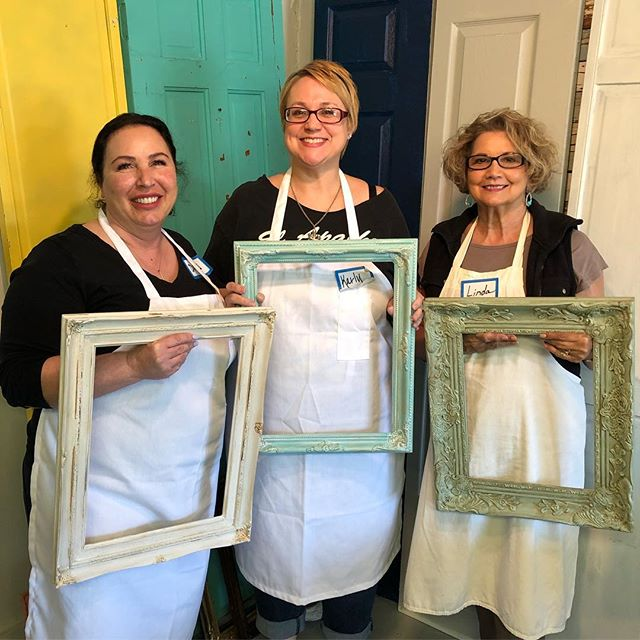 Our first class in the books! We had a blast with these lovely ladies! Painting, distressing, glazing and gilding these ladies are ready to take on their next project! Our next class is Sunday, April 7th 1pm - sign up now as we like to keep the classes small! #pierceandbelle #paintedfurniture #dixiebellepaint #dbp #bestpaintonplanetearth #paintingclasses #oldtownspring #springtx #houstontx #conroetx #cypresstx #thewoodlandstx