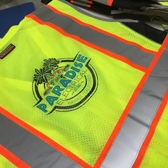 Safety First. Multiple selection of safety apparel for decoration #screenprinting #safetyapparel #paradiseelectric#promotionalproducts