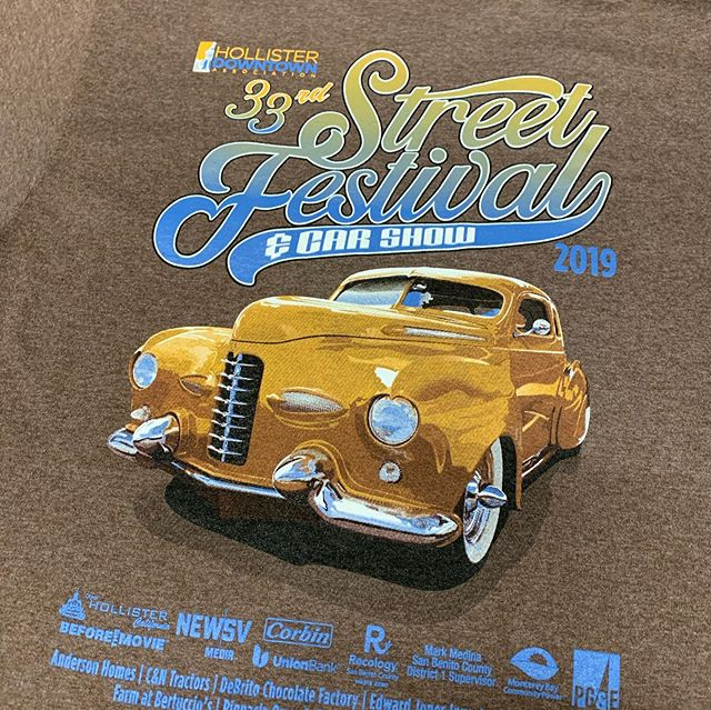Local car show and street fest#hollister #hollisterdowntownassociation #carshow #streetfestival#tshirtdesign #screenprinting #promotionalproducts