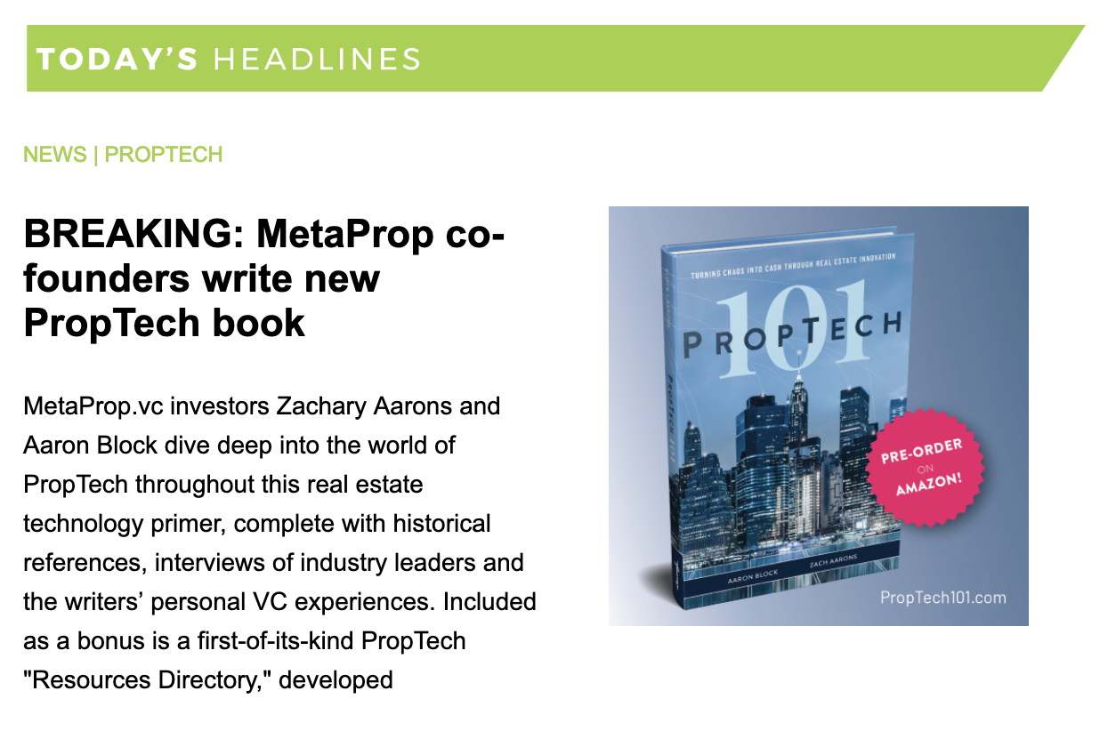CRETECH PropTech 101 MetaProp VC Finance