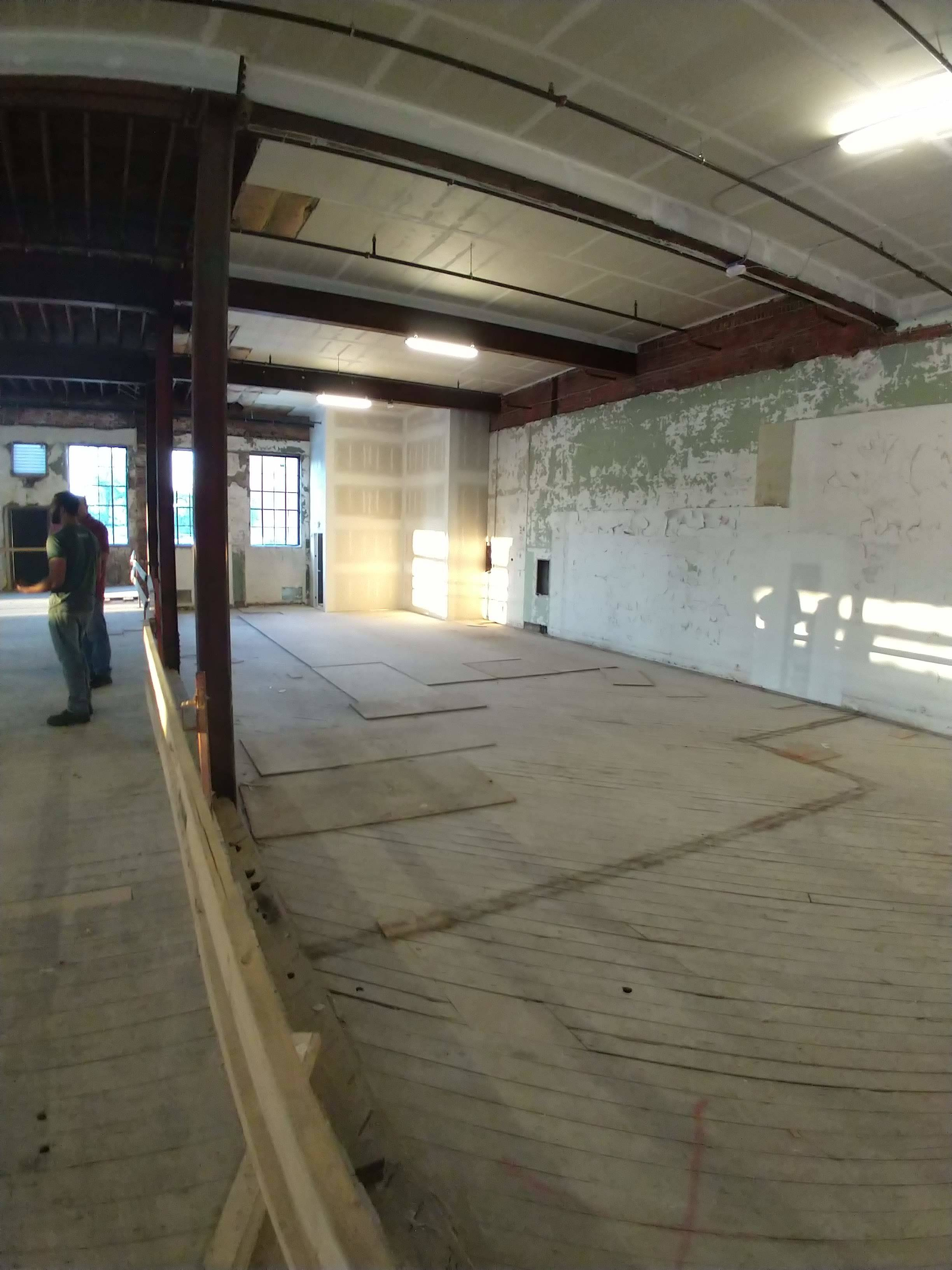Most of this floor will be removed to make way for the 10-barrel system (Year 1 capacity of 2000 barrels) which will appear to grow out of the basement. The area will be enclosed by viewing windows so patrons in the taproom can peer down into the production area.