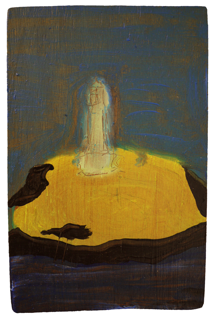 Lighthouse, 2018, oil on board, 13cm x 20cm