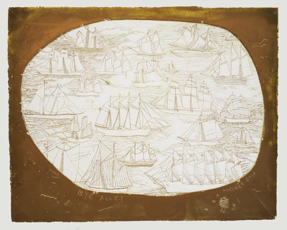 Rye Alley, 2018, plaster print in gold ink, 25cm x 30cm
