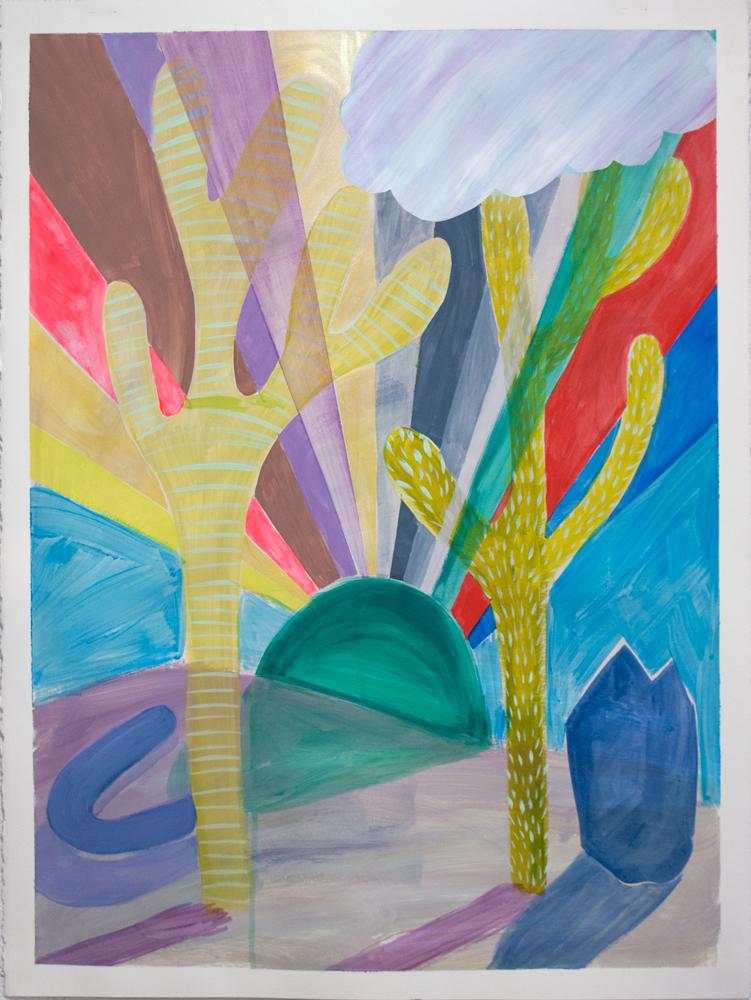 """Desert Sunset,"" 30"" x 22,"" acrylic, gouache, on paper"