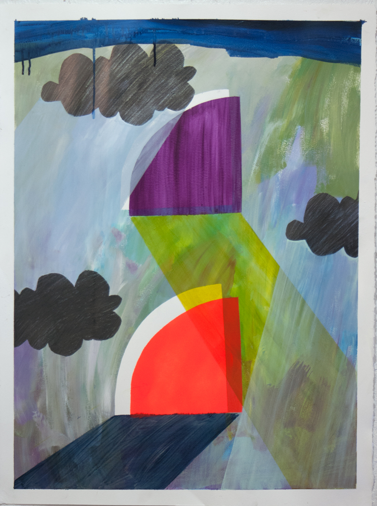 """""""Door to Never,"""" 30"""" x 22,"""" acrylic, graphite, gouache, water soluble spray paint on paper"""