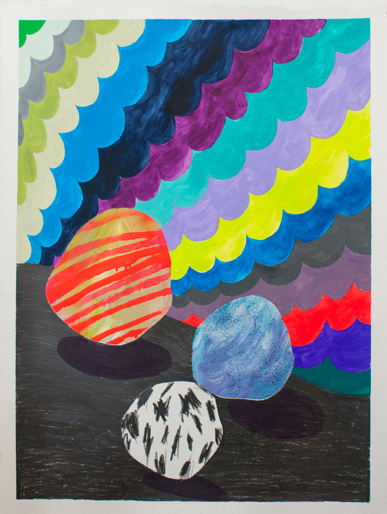 """""""Moon Rock Study,"""" 30"""" x 22,"""" acrylic, graphite, gouache, water soluble spray paint on paper"""