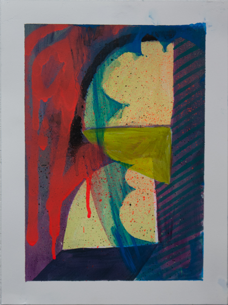 """""""Portal Reflection,"""" 12"""" x 9,"""" acrylic, graphite, gouache, water soluble spray paint on paper"""