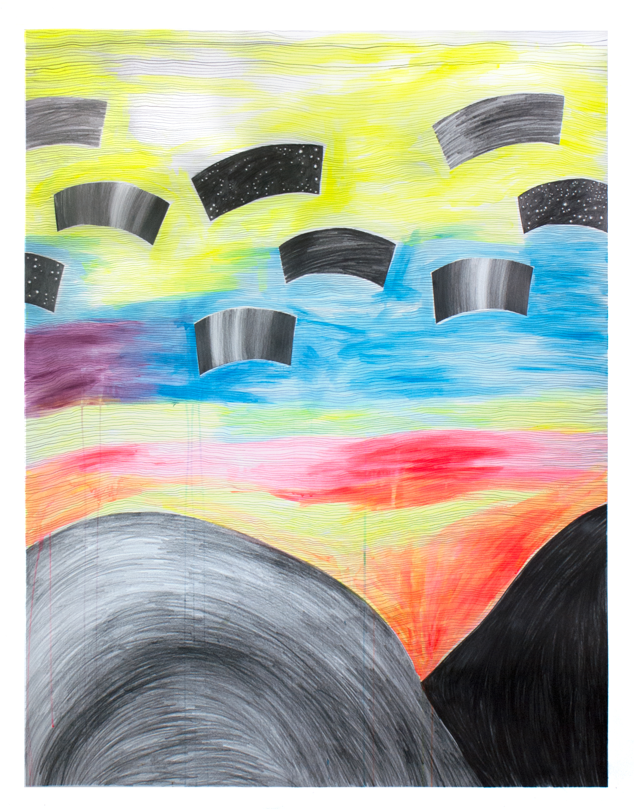"""Cosmos , 48"""" x 34,"""" acrylic, gouache, graphite on paper. In the Collection of Fidelity Mutual"""