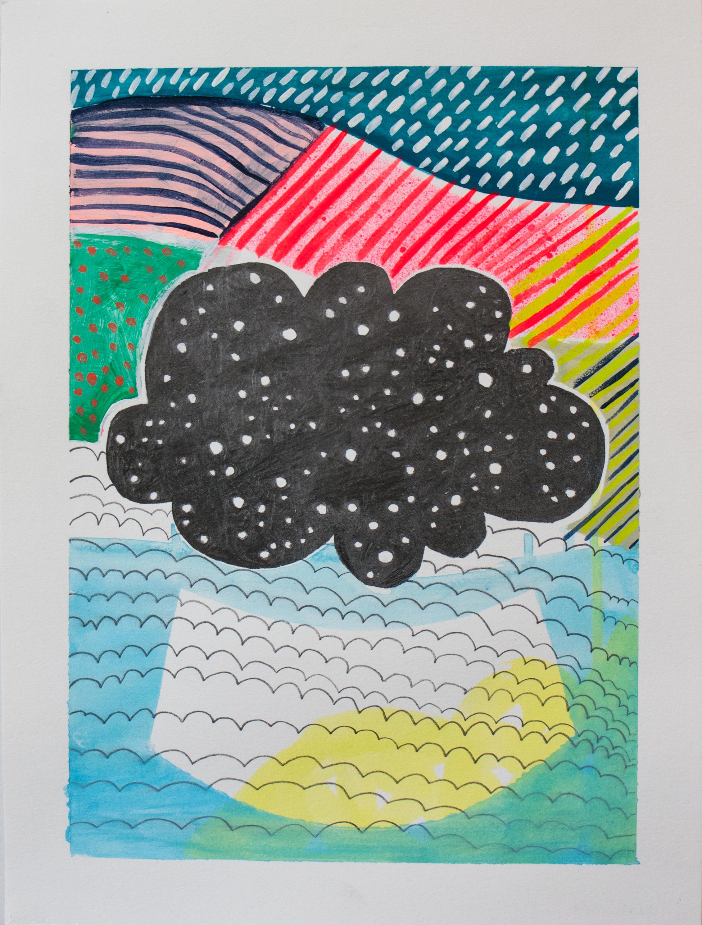 "Cloud Car, 11"" x 9,"" graphite, acrylic, gouache on paper (SOLD)"