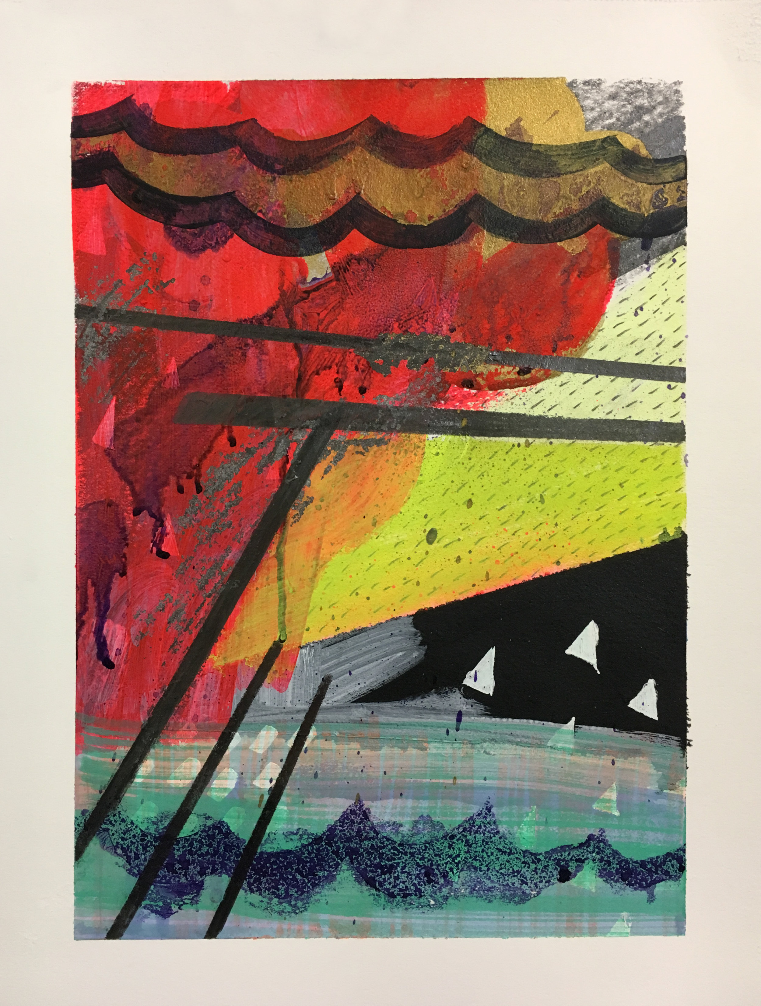 """Shipwrecked , 12"""" x 9,"""" acrylic, gouache, water soluble pray paint on paper"""