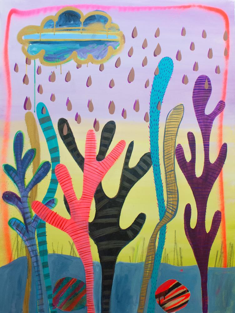 """Phychic Rain,"" 48"" x 36,"" acrylic, graphite, gouache, water soluble spray paint on canvas"