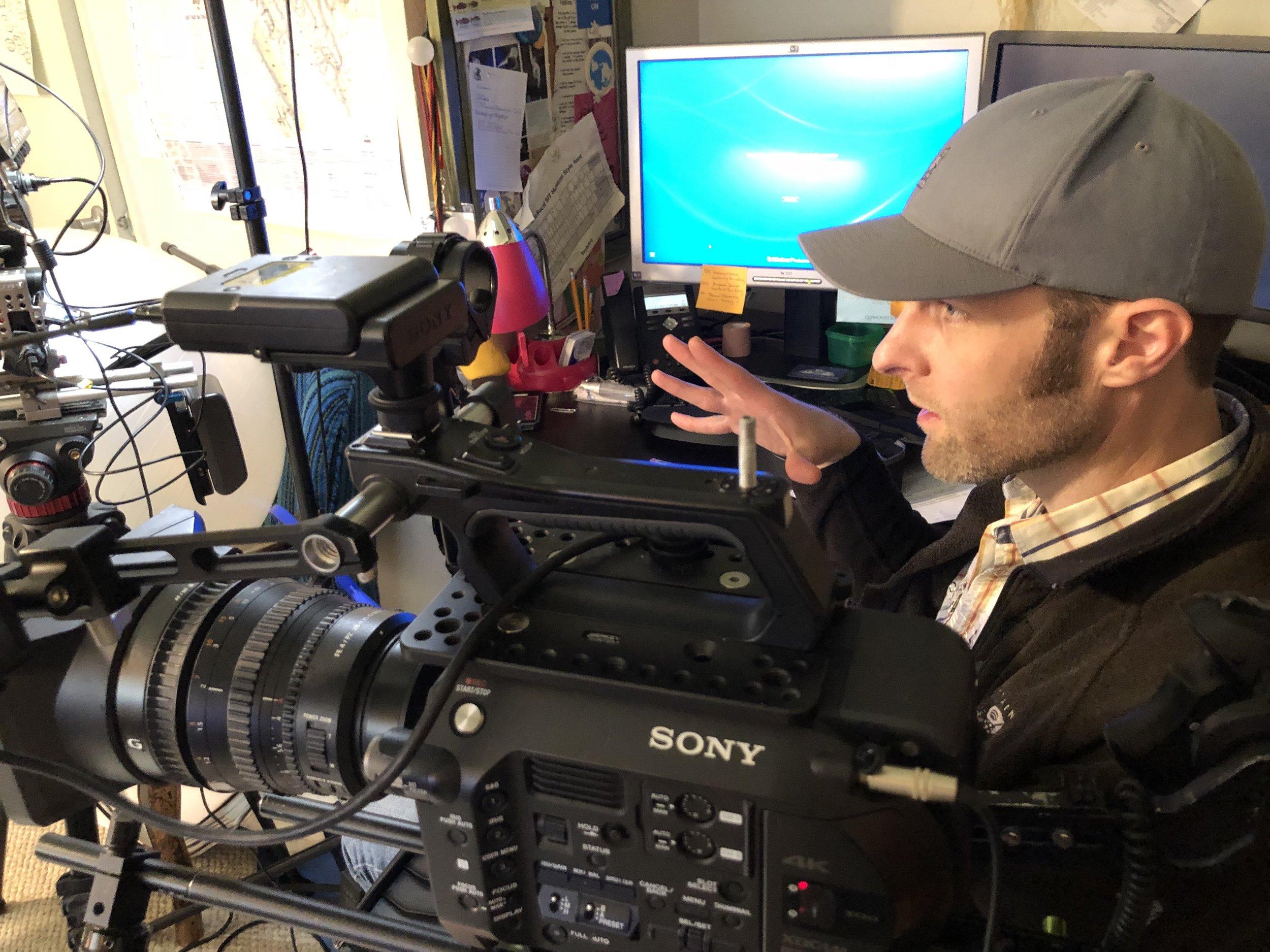 Producer - Writer Nils Cowan lines up a shot