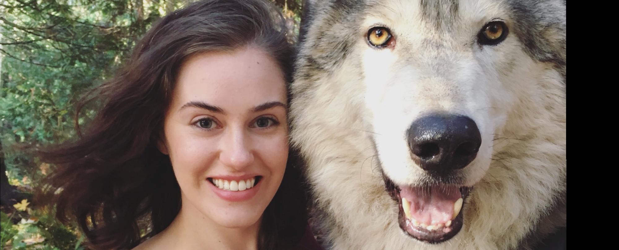 Zoë visting a wolf preserve