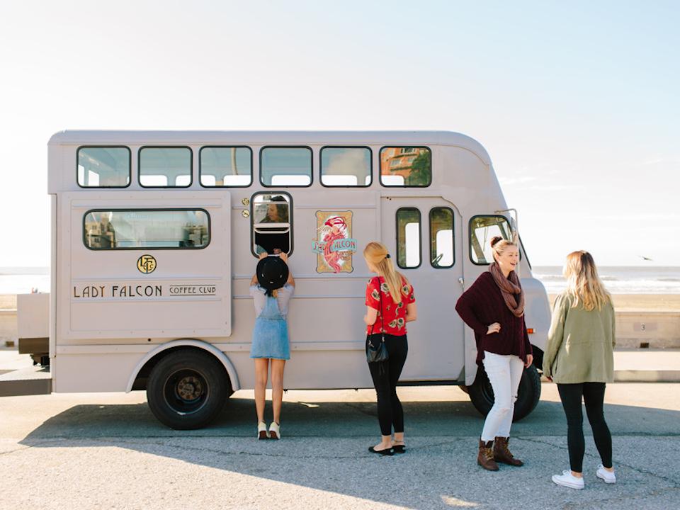 Lady Falcon's vintage coffee truck. | Photo: Simone Anne, courtesy of Lady Falcon Coffee Club
