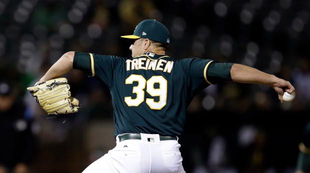 A's Reliever Blake Treinen (AP Photo/Ben Margot)