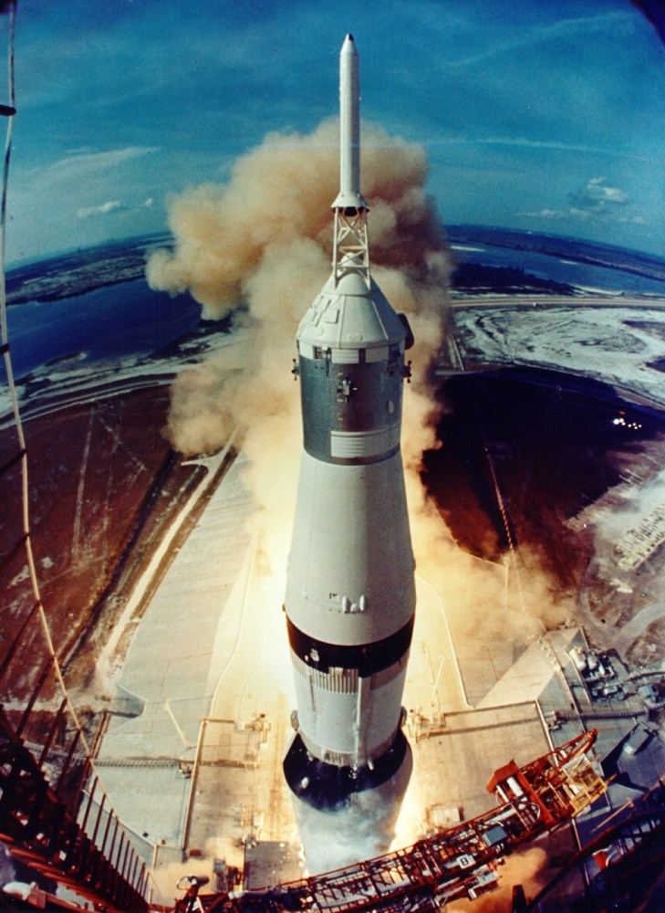 The Apollo 11 capsule begins its voyage to the Moon.