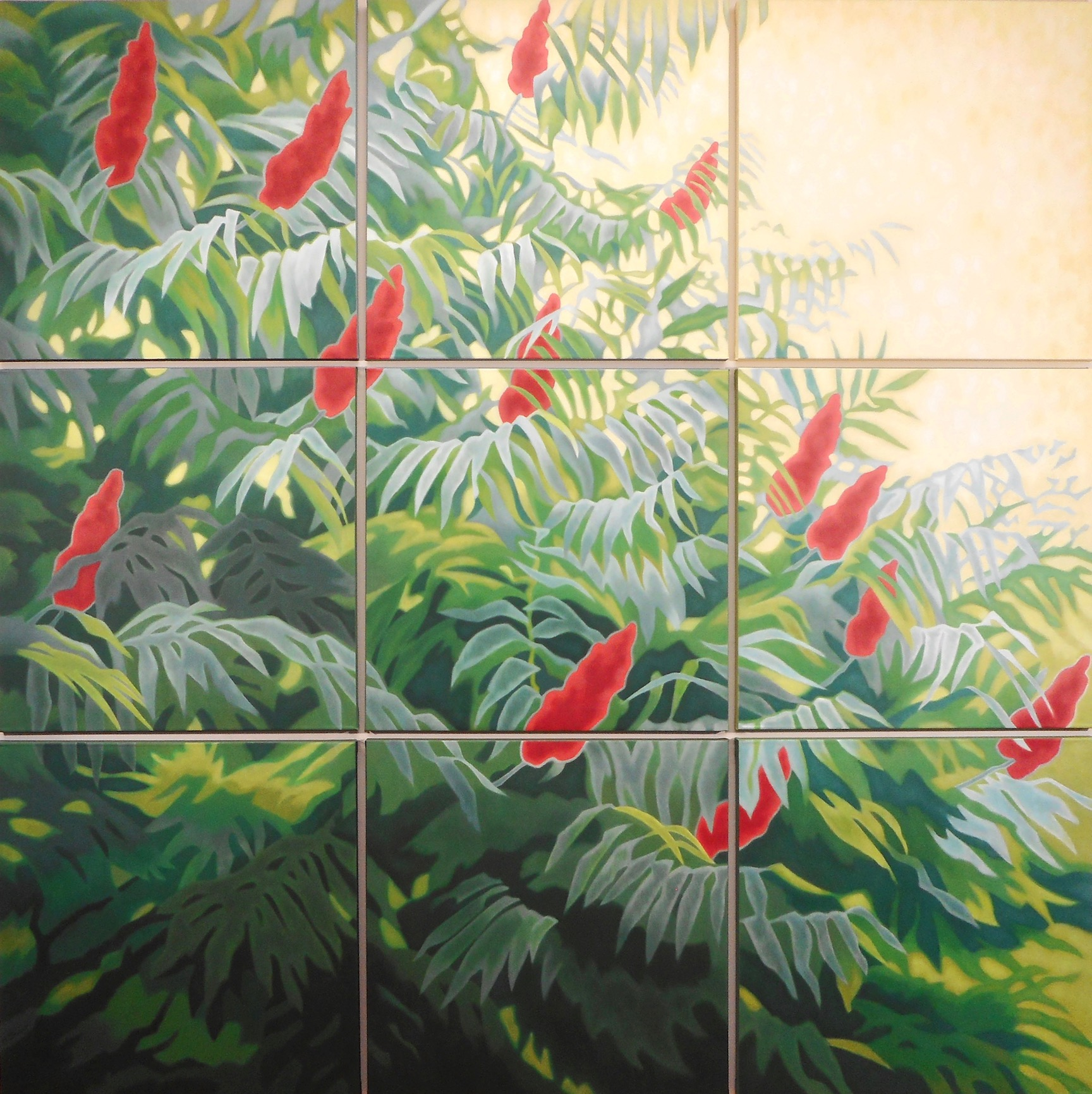 "SUMMER SUMACH by Allen Shugar 72"" x 72"" / 9 panels ea 24"" x 24"" Oil on canvas"