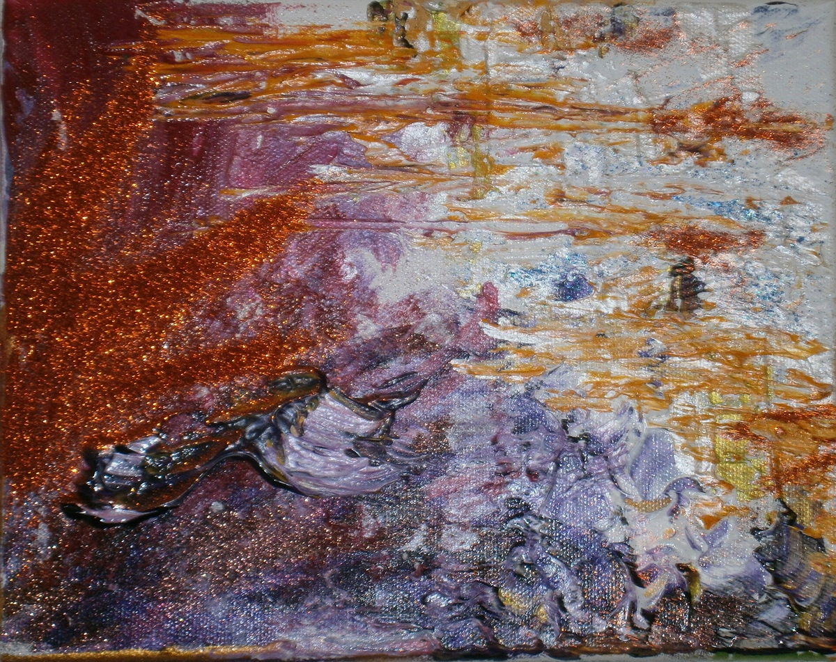 "SOLAR SOLITUDE  by Hélène Asselbergs 8"" x 10"" mixed media and acrylic on canvas"