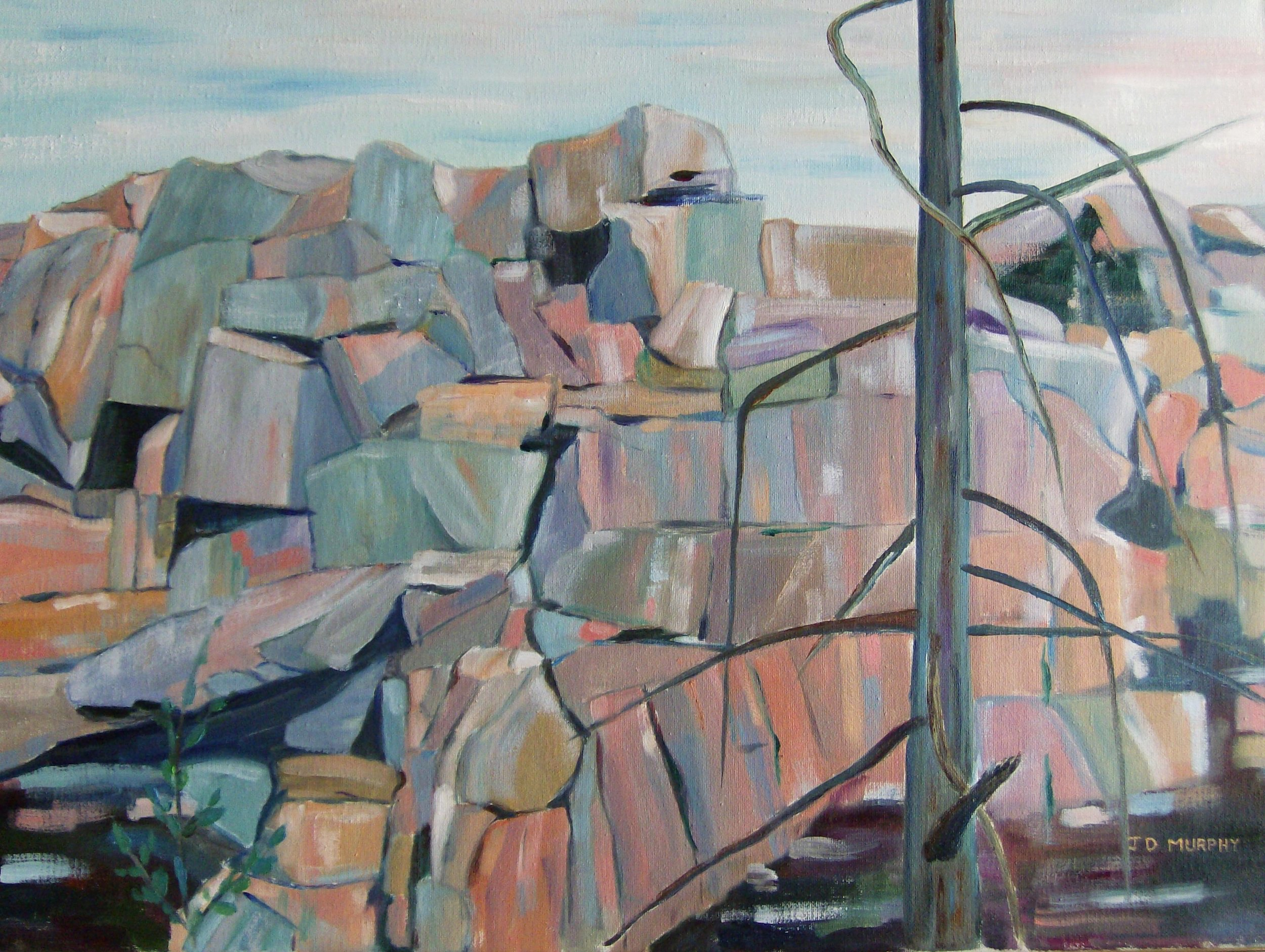 "ROCK FACE No. 2  by J. David Murphy oil on canvas 18"" x 24"""