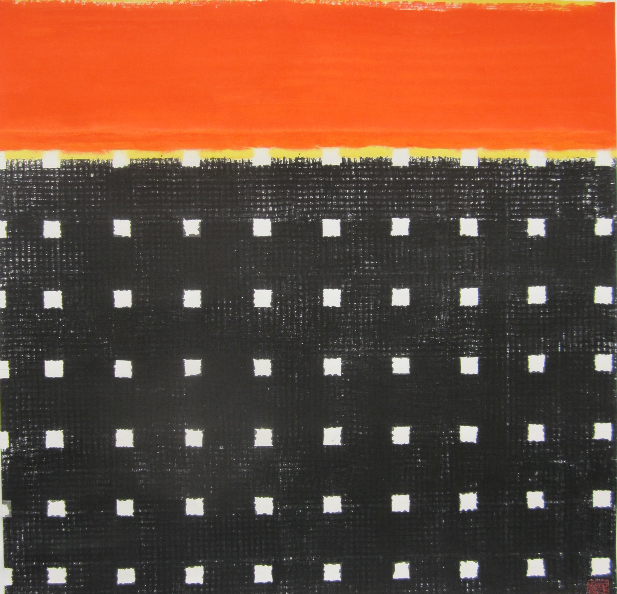 """SUNSET ON THE ROOF (Cityscape Series)  by Erik Chong 27"""" X 27"""" ink and colour on rice paper"""