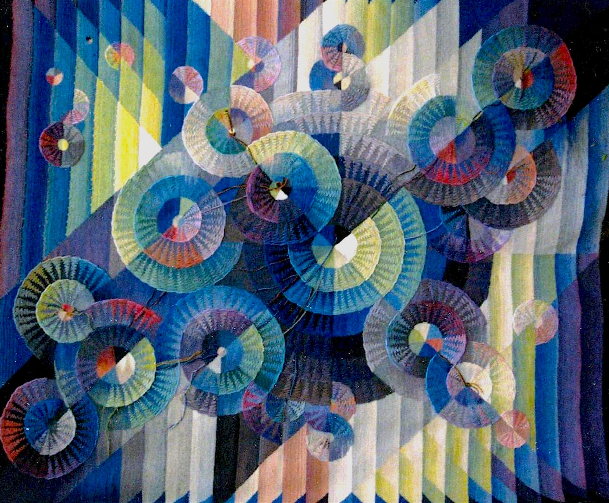 "CONSTELLATION by Janna Kroupko 106"" x 94"" silk and cotton on canvas backing.JPG"