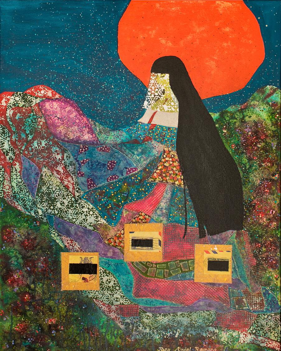 """DEAR LOLA  by Joan Andal Romano 24"""" x 30"""" mixed media on canvas"""