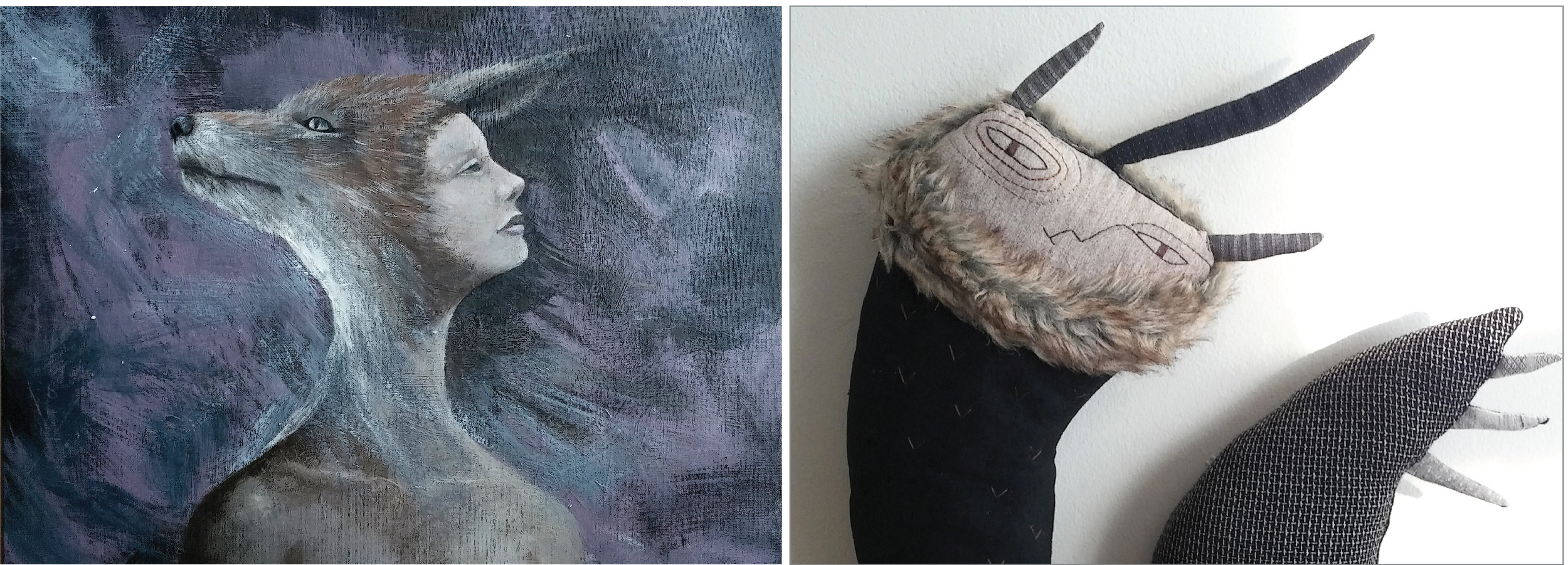 """Left:  Human Being #5 (Coyote)  24"""" x 18"""" acrylic on canvas -Right:  Kirin Doll Version 3  soft sculpture yarn thread fake fur -both by Zoë Changeun-Son"""