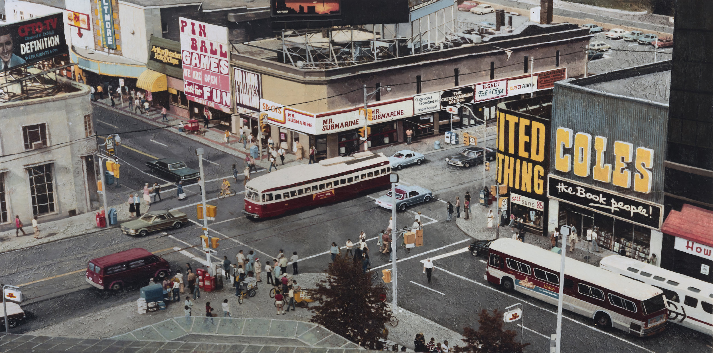 "YONGE AND DUNDAS  1978 by Hanna Kostanski 30"" x 60"" acrylic on wood • Original Photograph by Harvey R. Naylor/CITY OF TORONTO ARCHIVES Fonds 1526"