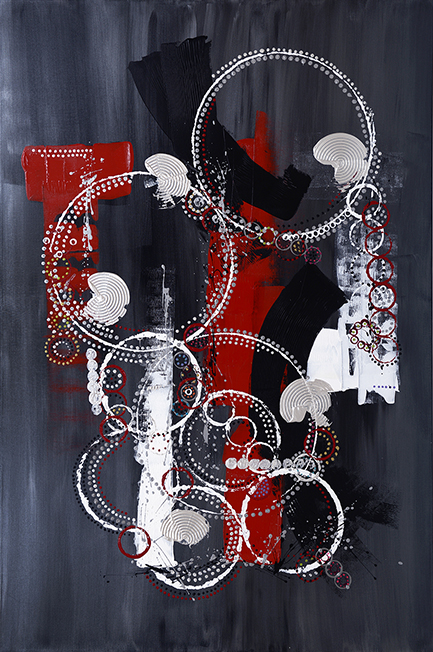 """FROSTED STEEL AND WIRE  by Donna Wise acrylic on canvas 48"""" x 72:"""