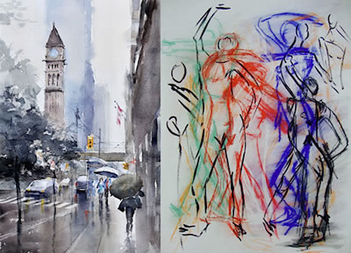 "RAINY DAY by Stella Dai watercolour on paper 13.5"" x 21.5"" (left) • TO DANCE by Fariba Mirhosseini chalk on paper 20"" x 27""(right)"
