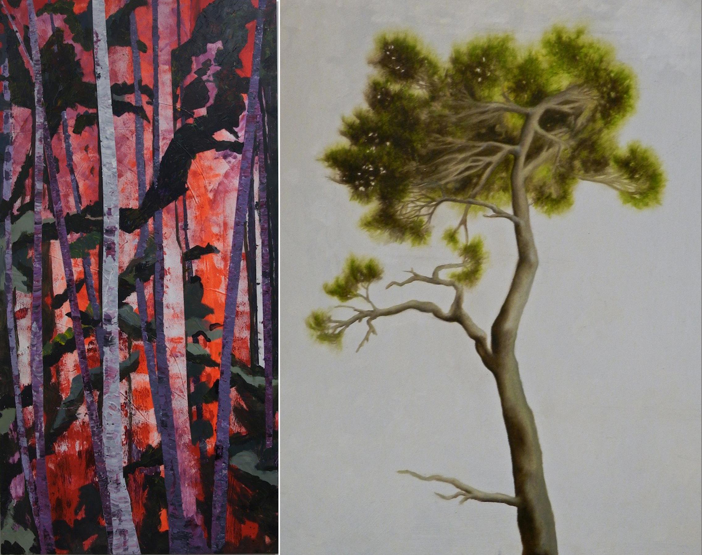 "AUTUMN  by Mary Lynne Atkinson 72"" x 36"" acrylic on birchwood (left) •  WHITE PINE STUDY  by Pauline Bradshaw 14"" x 12""oil on masonite( right)"