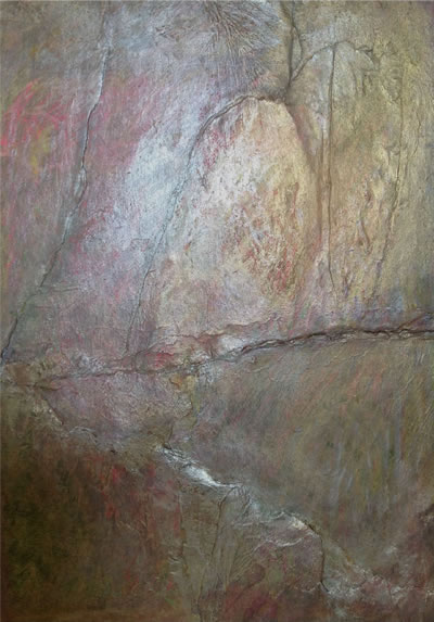 "SHIMMERING ROCK  collage by Annie Mandlsohn 21"" X 23"" (detail)"