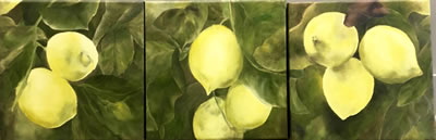 SPANISH LEMONS   by Valerie McMurray      Triptych oil on canvas