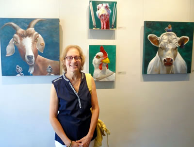 ART OF FOOD  artist Judy Sherman with her paintings at  URBAN GALLERY