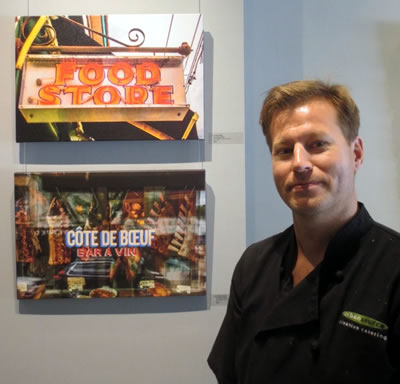 ART OF FOOD  artist and UrbanSource Catering Chef Lyndon Wiebe with his photo prints on canvas at  URBAN GALLERY