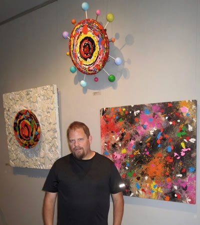 ART OF FOOD  Artist Kirk Sutherland with his artworks at  Urban Gallery
