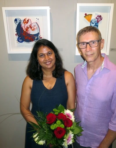 ART OF FOOD  artist Anushka Deshpande with  Urban Gallery  curator ALLEN SHUGAR