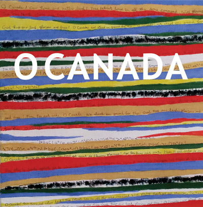 Detail of BEAUTIFUL DAY -mixed media on canvas by Erik Chong –O CANADA lyrics in English, French and Inuktitut