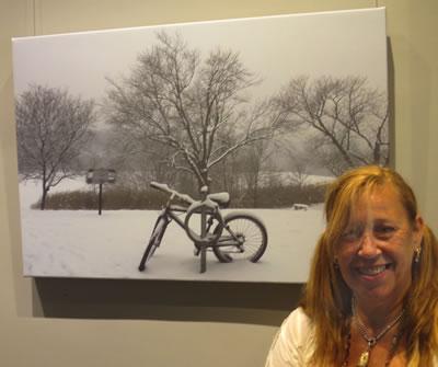 Artist  Karen Silver  with  WINTER BIKE
