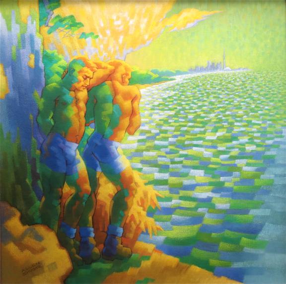 "BOYS ACROSS THE BAY  by Allen Shugar 40"" x 40"" oil on canvas"