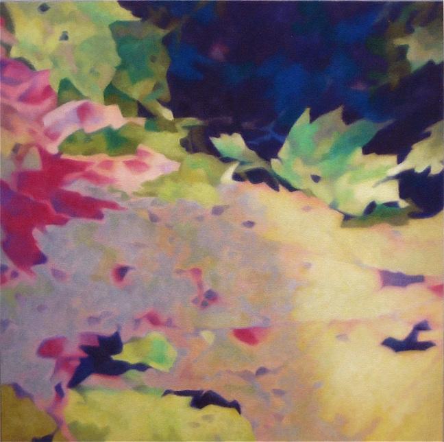 "FLOATING LEAF  by Allen Shugar 20"" x 20"" oil on canvas"
