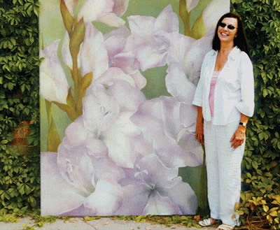 VJ McMurray with PURPLE GLADIOLUS 72 x 72 oil on canvas